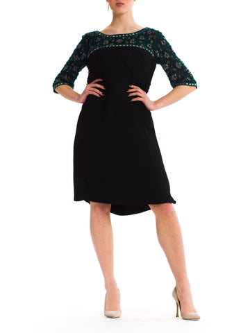 1960S Black Silk Mousseline Cocktail Dress With Emerald Crystal Beaded Sleeves