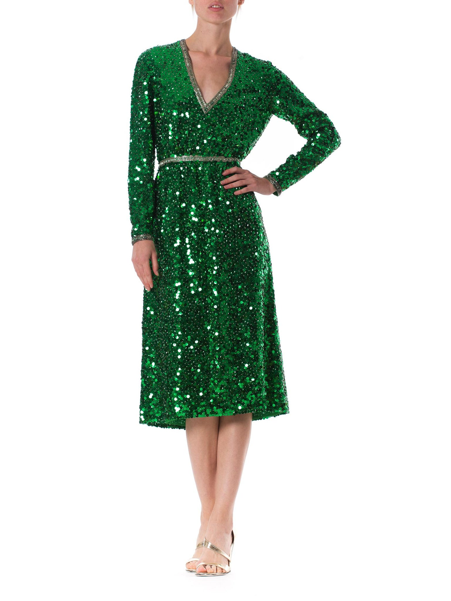 1970S Kelly Green Hand Beaded Polyester Long Sleeve Low Cut Cocktail Dress