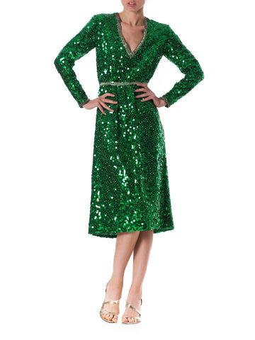 1970s Hand Beaded Emerald Green Cocktail Dress