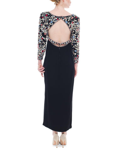 1980S JAMES GALANOS Black Silk Long Sleeve Cut-Out Back Gown With Polka Dot Crystal & Bead Encrusted Bodice