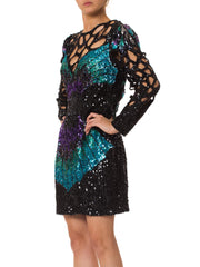 Hand Beaded 1980s Dress with Cutouts