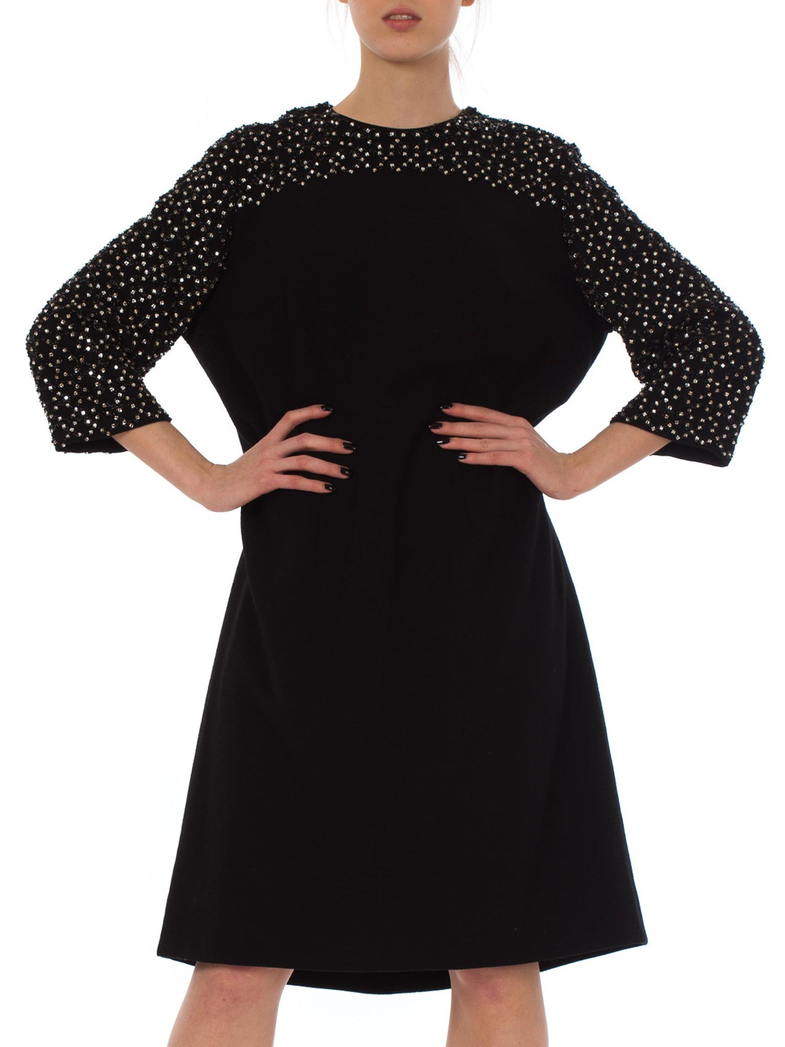 1960S Black Wool Knit Crystal Beaded Sleeve Mod Cocktail Dress XL