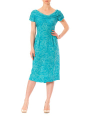 1950s Floral Blue Two Color Short Sleeve Cocktail Dress