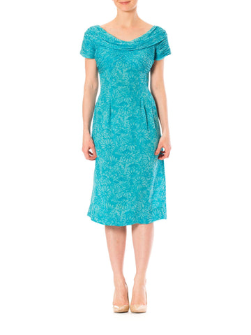 1960S ROBERT MORTON Turquoise Floral Silk Chiffon Draped Boat Neck Dress With Short Sleeves