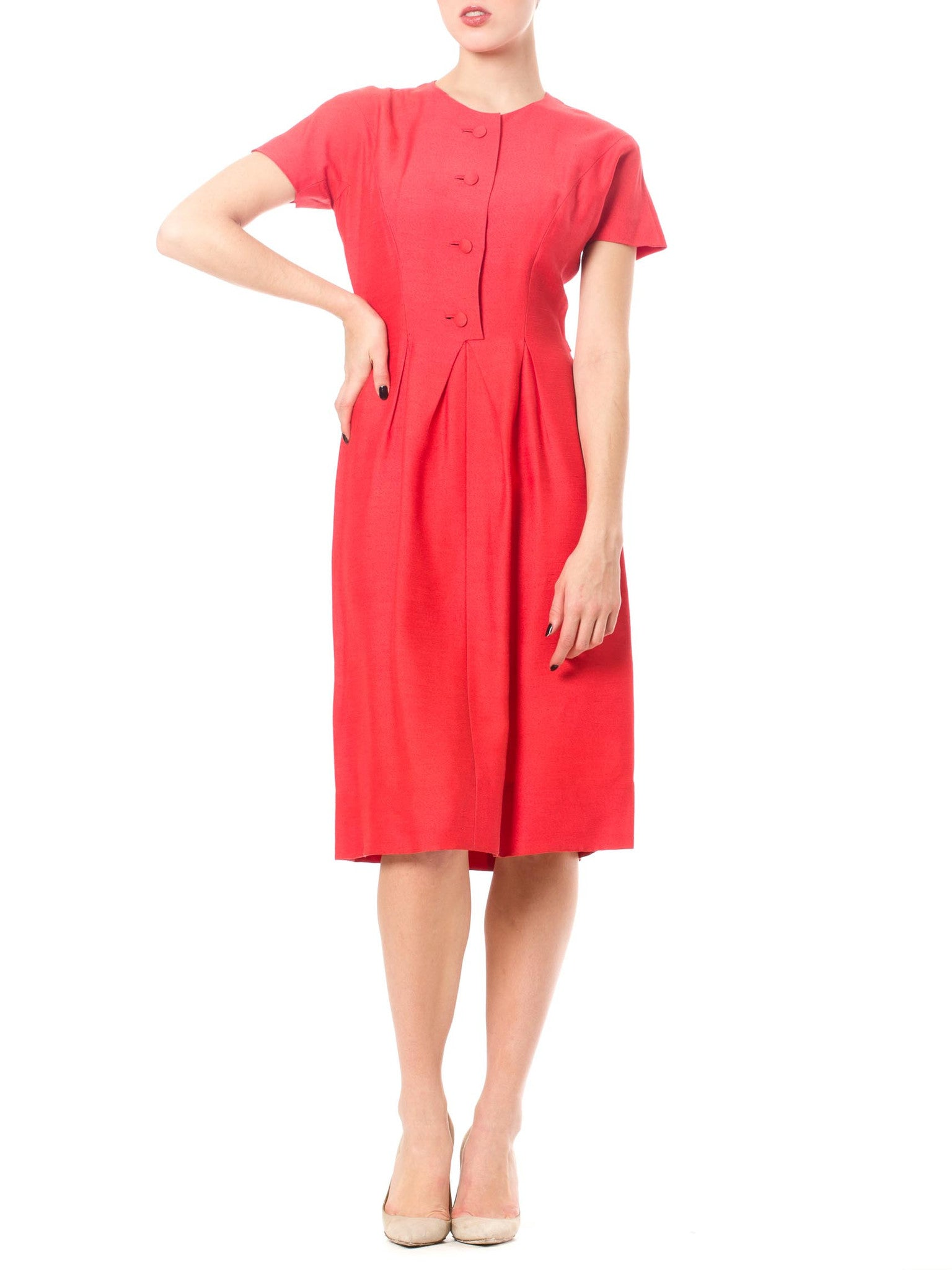 Bright Pink 1950's Vintage Maggy Rouff Dress