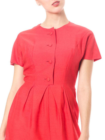 1960S Maggy Rouff Persimmon Red Wool Blend Button Front Pleated Waist Day Dress