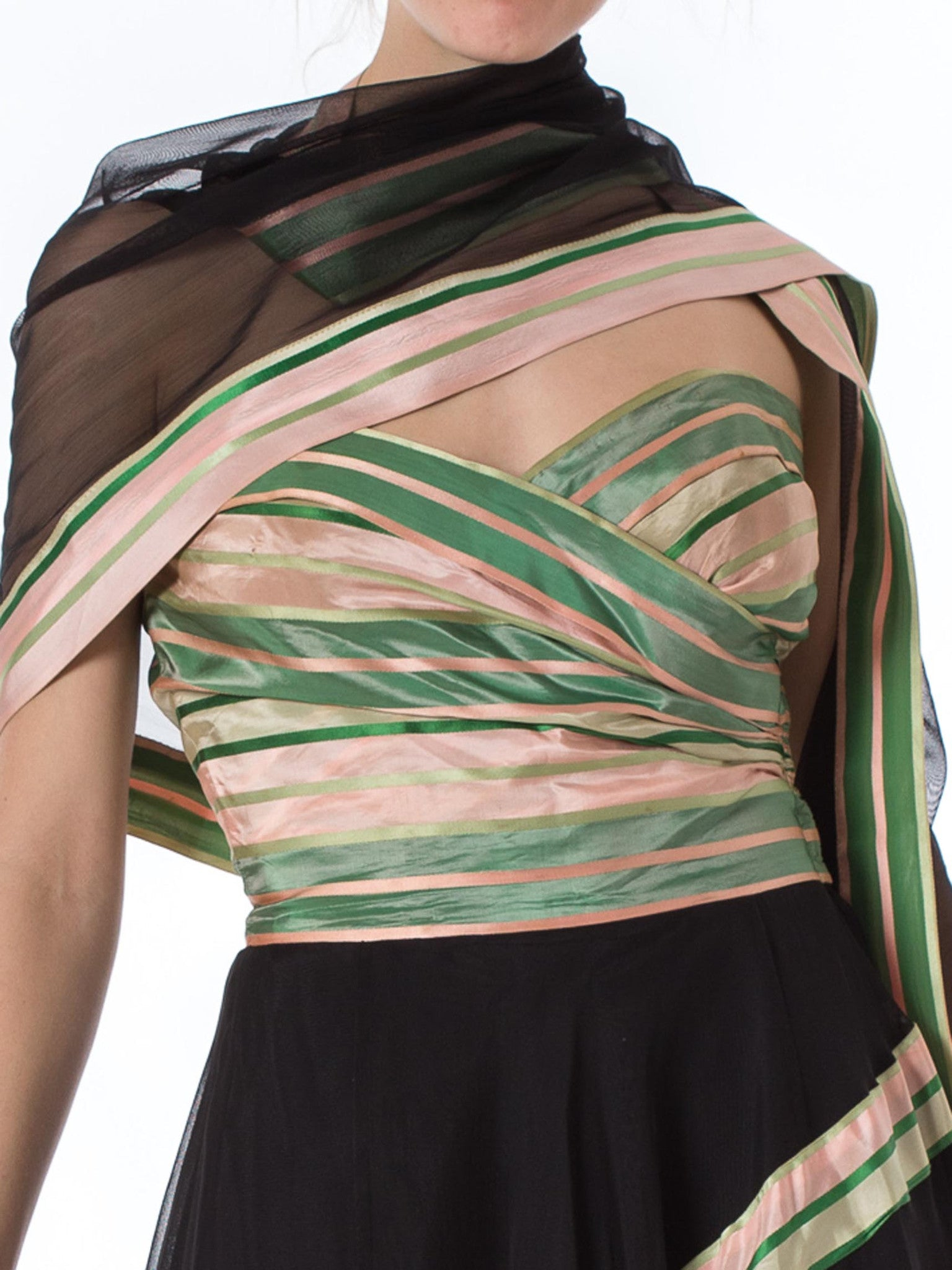 1940S Black Net Strapless Gown With Green & Pink Striped Taffeta Bodice Shawl