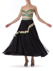 1930S Chiffon Strapless Black Sheer Flowy Gown