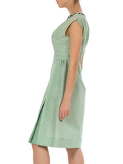 1950s Mint Green Technique Waist Beaded Neckline Cocktail Dress