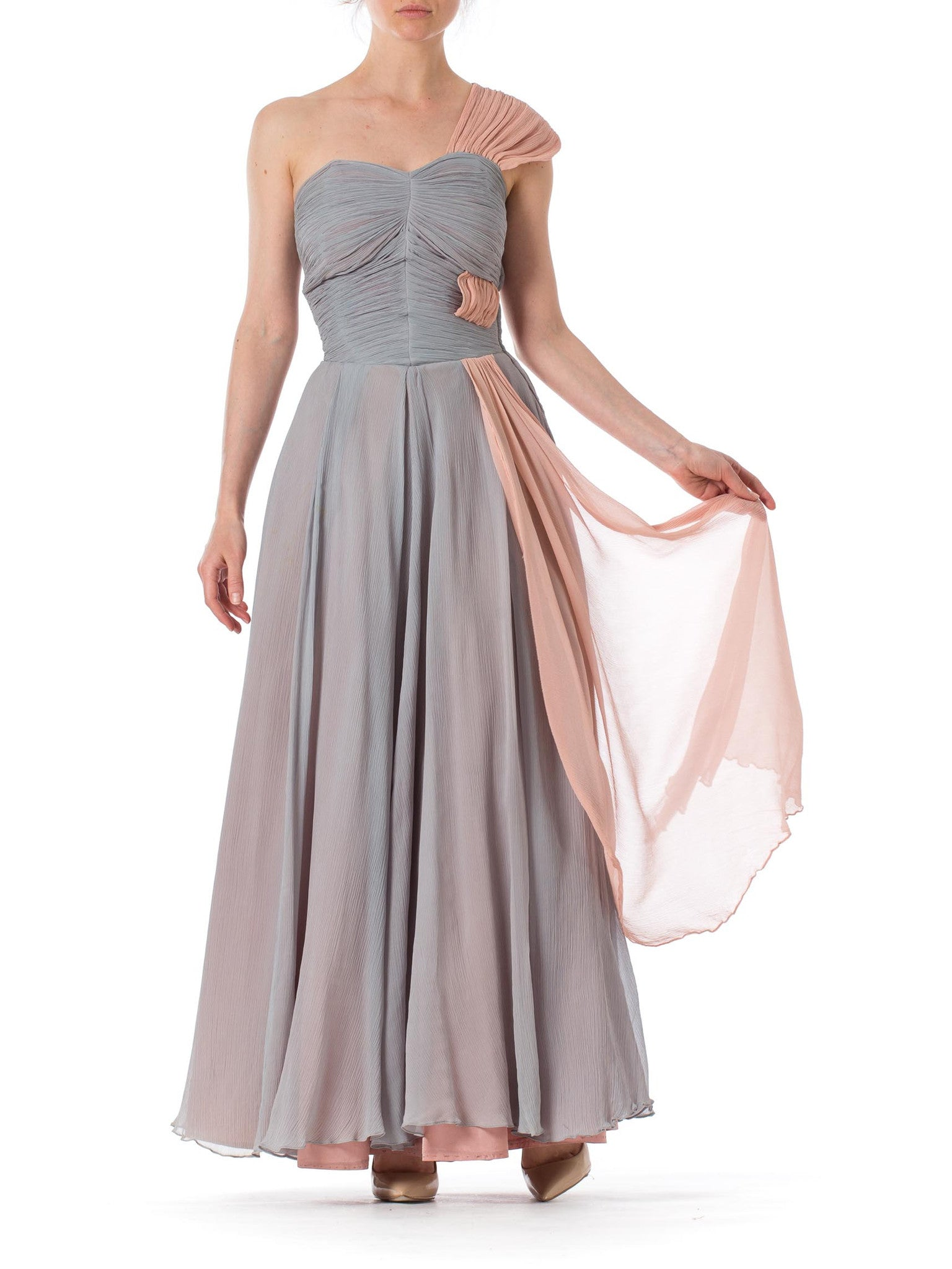 1940s One Shoulder Blue Chiffon Flowy Ball Gown