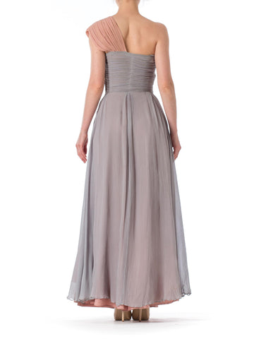 1940S Henri Model Dusty Rose & Grey Silk Mousseline One Shoulder Flowy Ball Gown Made In Paris