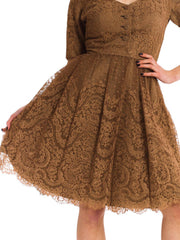 Classic Vintage 1950's Fine Silk Lace Dress
