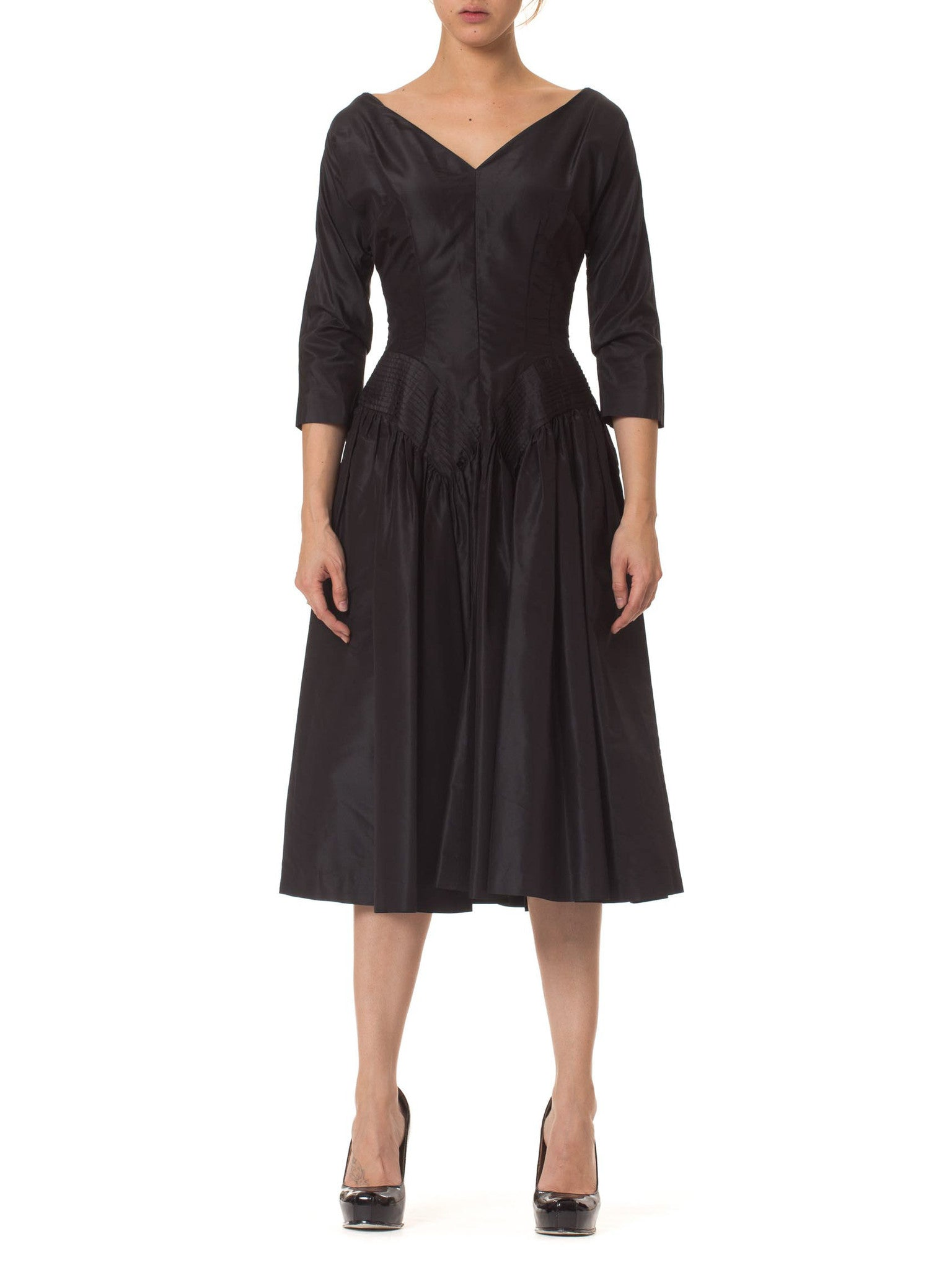 1950s New Look Dress with Pleated Hips