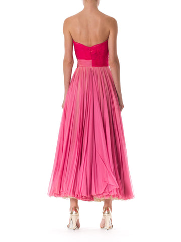 Exquisite 1950s Hand Pleated Silk Chiffon Gown