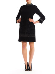 Charming 1980's Black Wool Silver Beaded Dress