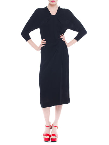 1940S Dorothy O'hara Black Silk Crepe Draped Pleat Day Dress