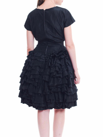 1950S PAULA WHITNEY Black Haute Couture Silk Taffeta Amazing Ruffled Poof Ball Skirt Cocktail Dress