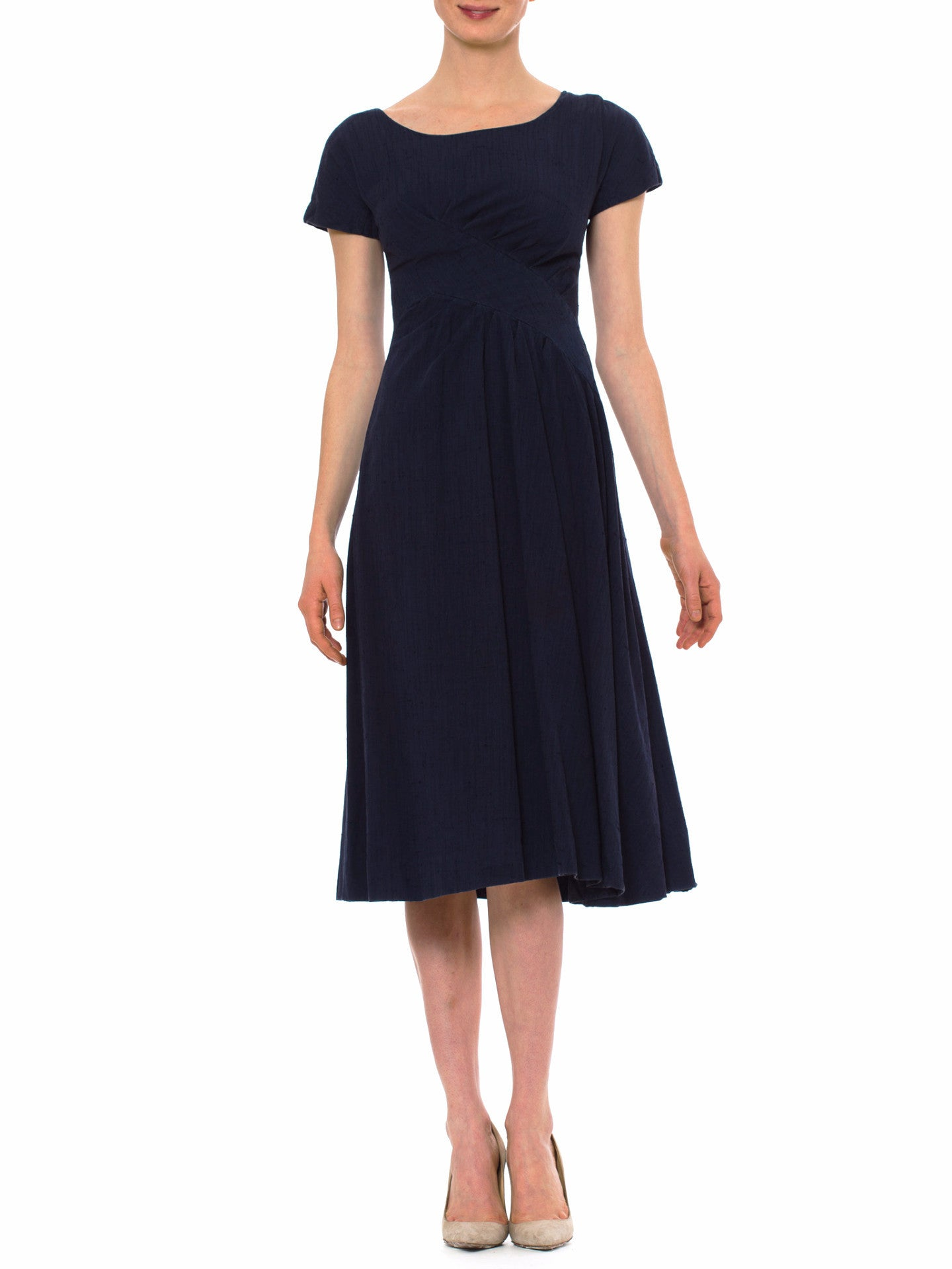 Vintage Suzy Perette 1950s Navy Pleated Dress