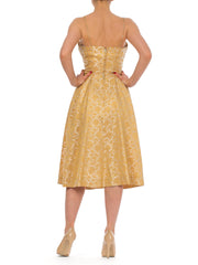 1950s Gold Jacquard Bow Cocktail Dress