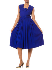 Bright Blue Vintage 1950's Pleated Sleeveless Dress