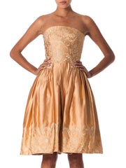 1950s Strapless Satin Dress Embroidered with Gold