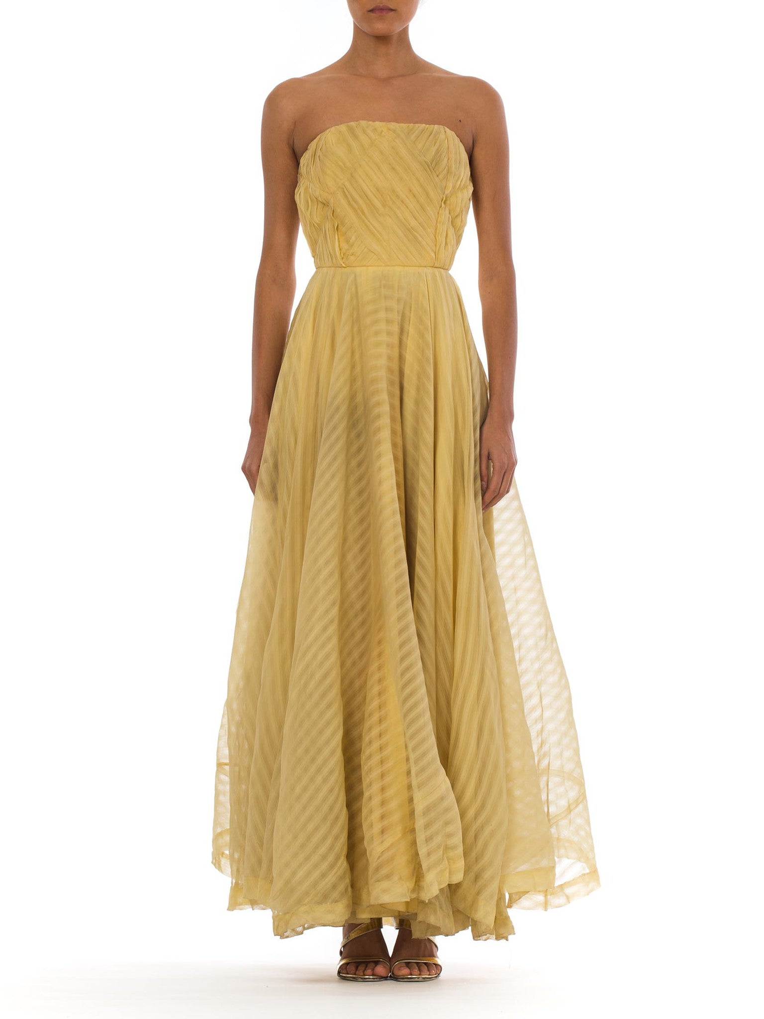 1940s Pale Yellow Striped Strapless Chiffon Gown