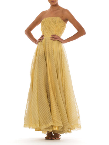 1940S Dusty Yellow Silk Chiffon Stripe Strapless Gown With Massive Ballgown Skirt For Dancing