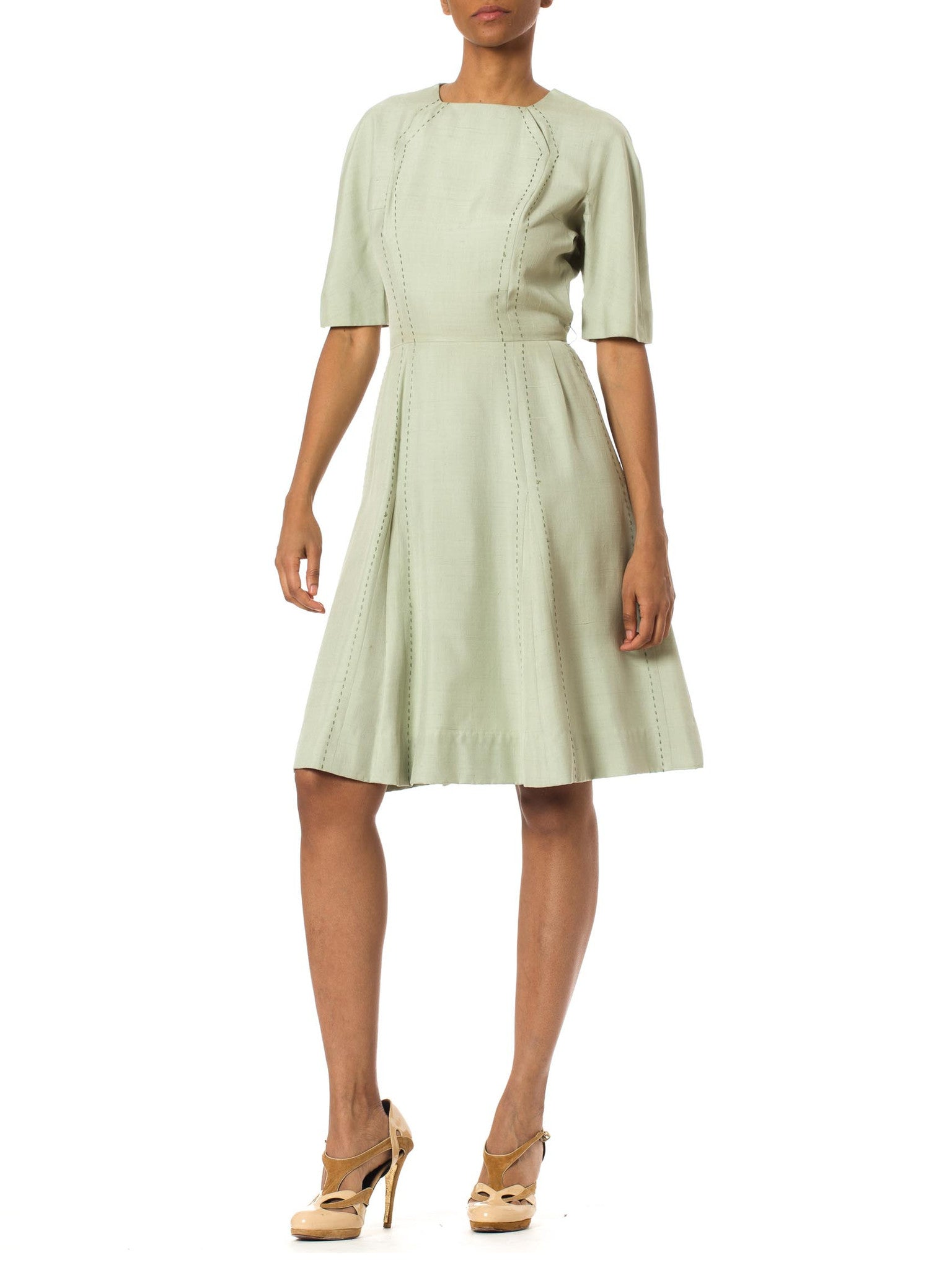 1950's Light Green Texturized Linen Dress