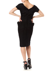 1950's Vintage Silk Black Dress with Lace Lower
