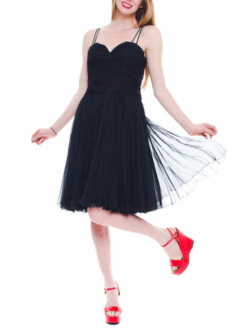 1950S BOB BUGNAND Black Silk Chiffon Draped Bodice & Swing Skirt Cocktail Dress With Cape Train