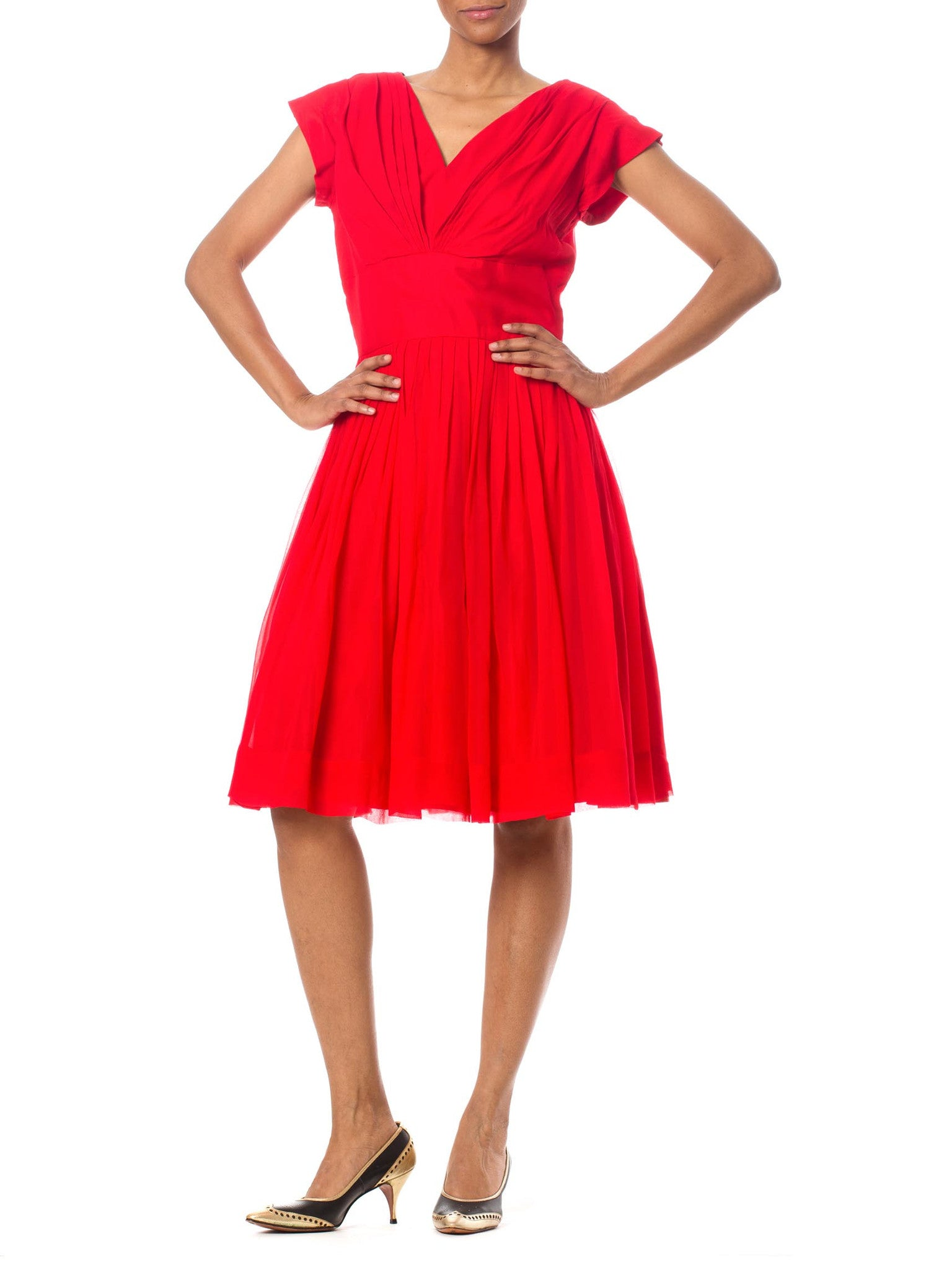 1980's Bright Red Vintage Cocktail Dress