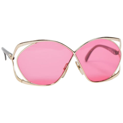 1980s Gold Dior Rose Pink Sunglasses