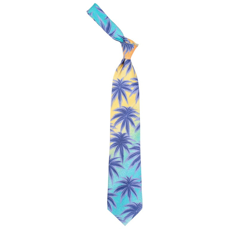 1990s Gianni Versace Miami Palm Tree Tie
