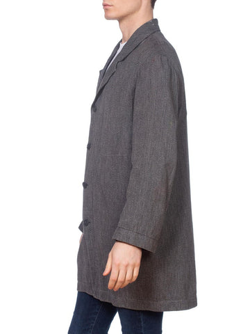 1930S Dark Grey Cotton Melange Men's Workwear Jacket