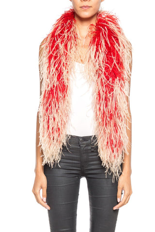 Ostrich Red And Cream Plume Boa Stole