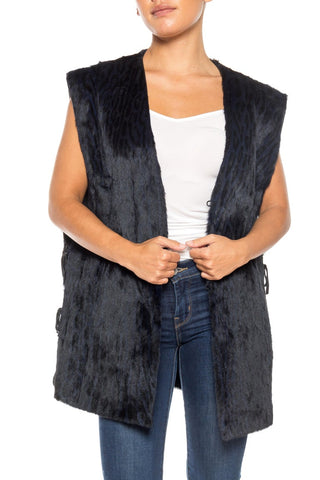 Black Fur Vest With Ties