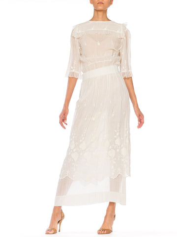 Edwardian Embroidered Lace and Tulle Lawn Tea Gown