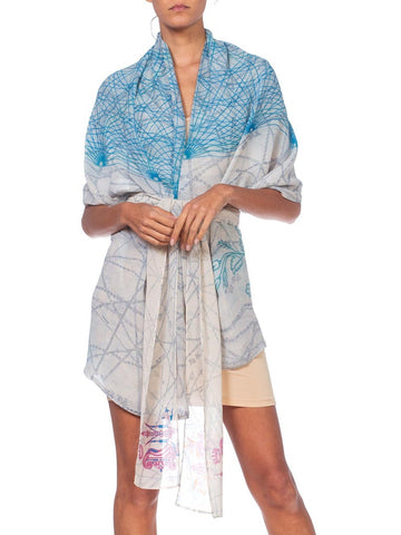 1990S Morphew Collection Printed Silk Chiffon Hood