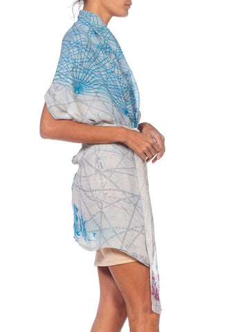 MORPHEW COLLECTION Blue & White Silk Chiffon Printed Wrap Top