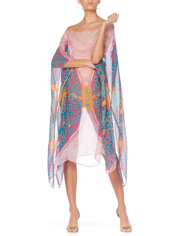 Morphew Collection Pink  & Orange Silk Chiffon Butterfly Print Kaftan With Scarf Belt