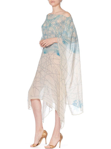 MORPHEW COLLECTION Baby Blue Geometric Silk Chiffon Kaftan With Scarf Belt