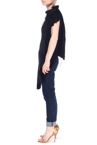 MORPHEW COLLECTION Black Recycled Silk Deconstructed Oversize Top With Victorian Lace & Beading