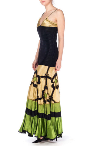 1920S/40S Morphew Collection Silk Vintage 1940'S Satin Gown With Gold & Green Appliqué Dress