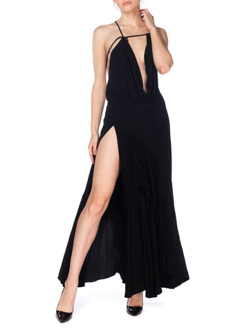 Black Ruffled Hem Asymmetrical Strappy Gown with High Slit