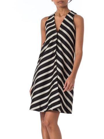 1960s MOD B&W chevron stripes Striped Sleeveless Wrap Dress