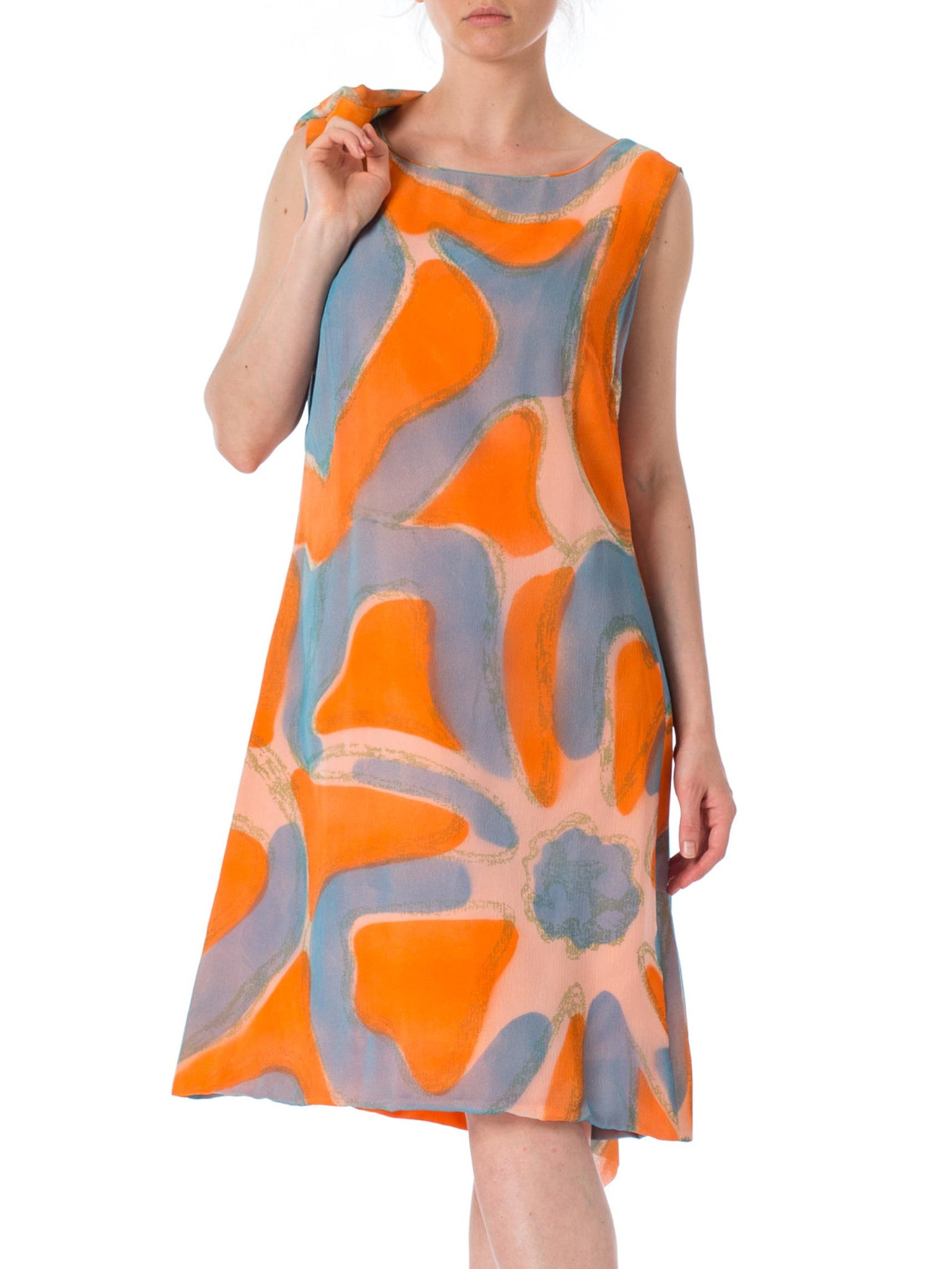 1960s MOD Blue and Orange Watercolor Abstract Print 2 Piece Chiffon Dress and Jacket
