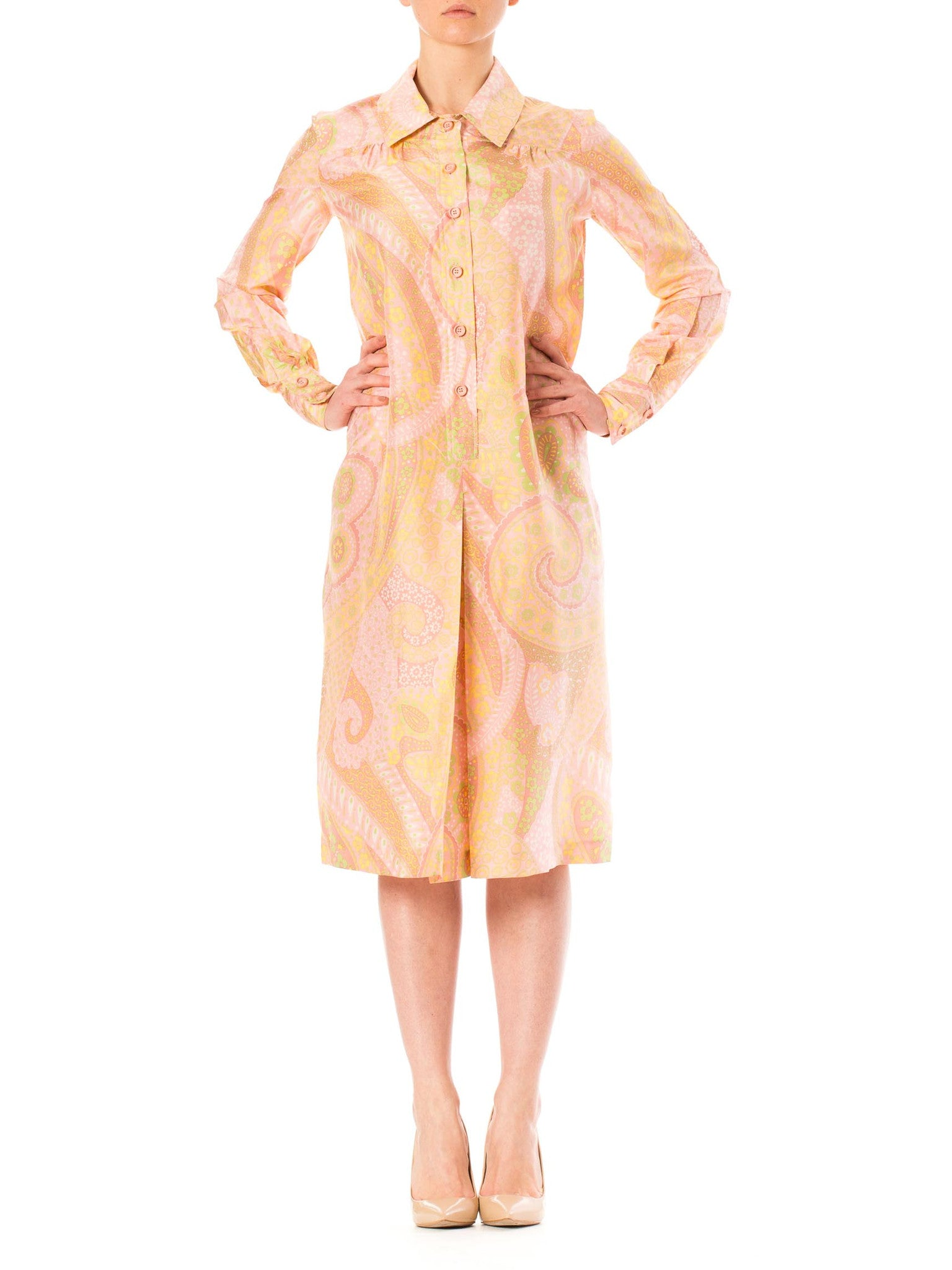 1970s Coral Pink Paisley Print Long Sleeve Tunic Silk Dress