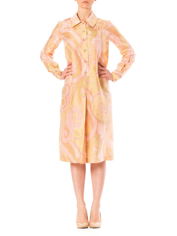 1970S Floral Silk Coral Pink Paisley Print Long Sleeve Tunic  Dress