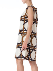 1960s MOD Geometric Tile Printed Sleeveless Dress