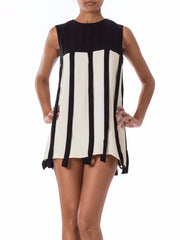 1960s Mod Black and White Sleeveless Mini Dress or Top